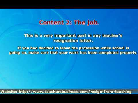 How To Resign From A Teaching Position