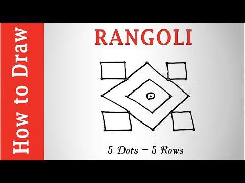 Easy Rangoli Design : 5 Dots - 5 Rows