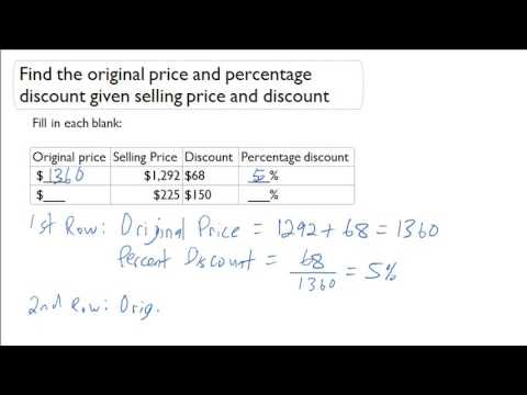 Find the original price and percentage discount given selling price and discount