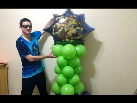 Easy Ninja Turtles Balloon Column Lesson