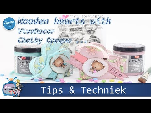 Painting with VivaDecor Chalky Opaque on wooden hearts | Kippers Hobby