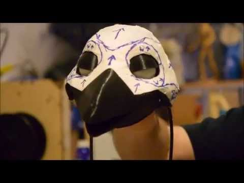 3d-printed bird hand-puppet - eyelid animatronic test