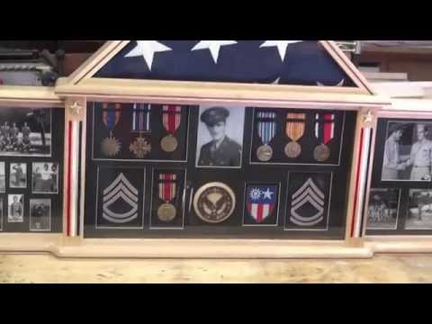 Memorial flag and WW2 Medals case