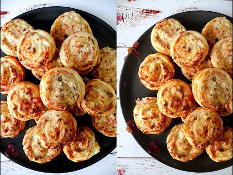 Puff Pastry Snacks With Cream Cheese, Ham And Mushrooms - By One Kitchen