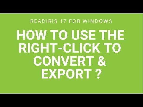 Readiris 17: Right-click to convert & export