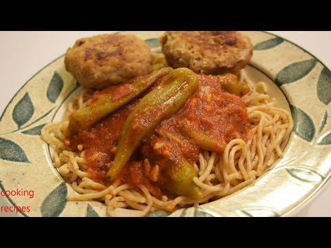 Easy Fast Pasta Recipe No Cheese - Spaghetti w/ Ready Tomato Sauce Okra Fresh Turkey Cutlets Low Fat