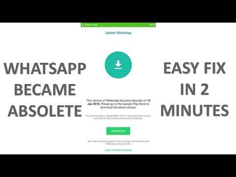Whatsapp Error  Whatsapp Became Absolete  Whatsapp No Working  100% Working