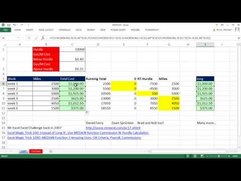 Excel Magic Trick 1157: Running Total Jumps Over Hurdle & Gas Cost for Mileage is Reduced Formula