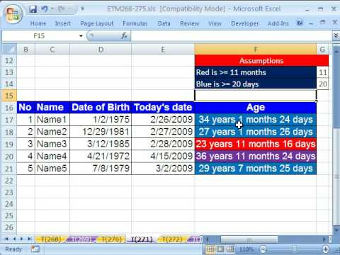 Excel Magic Trick # 271: Conditional Format w DATEDIF function