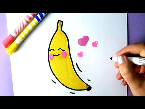 CUTE FOOD : HOW TO DRAW A CUTE BANANA | EASY DRAWING