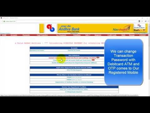 Reset Transactional Password in Andhra Bank with Debitcard