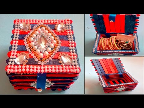 DIY JEWELLERY BOX | MULTIPURPOSE STORAGE BOX | Popsicle stick Craft