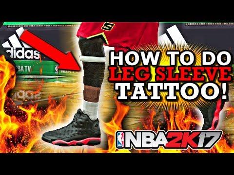 NBA 2K17 HOW TO DO LEG SLEEVE TATTOO!! (CHEESE TATTOO!!)