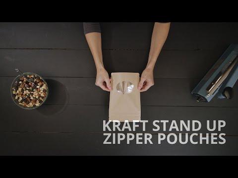 Kraft Stand Up Zipper Pouches