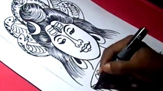 How to Draw LORD ESWARA SHIVA DRAWING step by step for kids