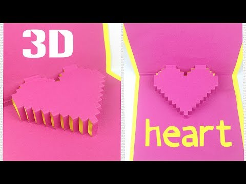 Diy 3d heart pop up card tutorial easy. Greeting gift card love design ideas for boyfriend