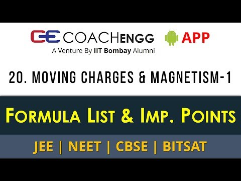 Moving Charges and Magnetism ( Part 1) – Formula List and Important Points   CBSE   JEE   NEET  