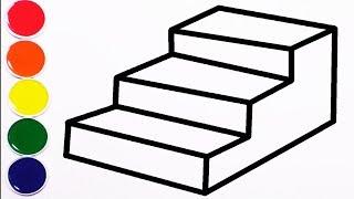 Dibujar y Colorear Escalera de Arco Iris - Draw Rainbow Stairs - Learn Colors / FunKeep