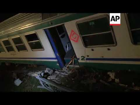 Aftermath of fatal train crash in northern Italy