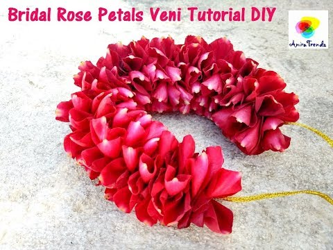 DIY Rose Petals garland Veni    Easy Method to make garland Rose Petals