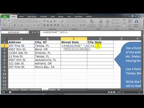 Use Excel and Text Functions to Extract Street Names and Cities from Addresses