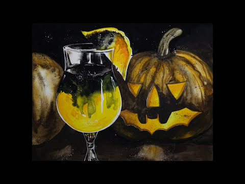 [Watercolor] 15.Black Magic - Cocktail Recipe for Halloween / 블랙 매직