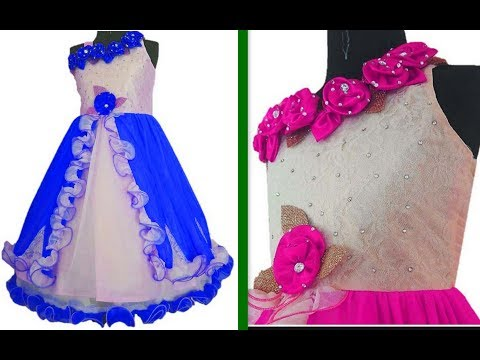 How to make One Shoulder Floor length dress with Handmade Flower For baby girl (Hindi Version)