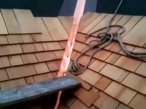 Cedar Roof Shingles Installation on Studio Garage Copper Flashings