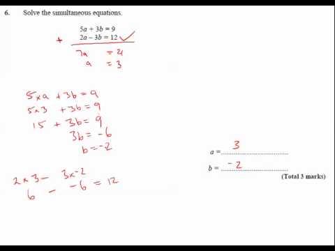 11y Ma2   Simultaneous Equations   Q6