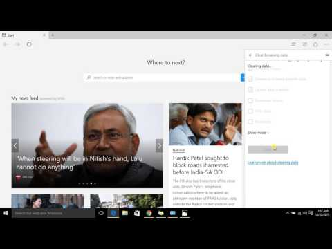 Deleting Cookies, History, and Cache in Microsoft Edge  windows 10