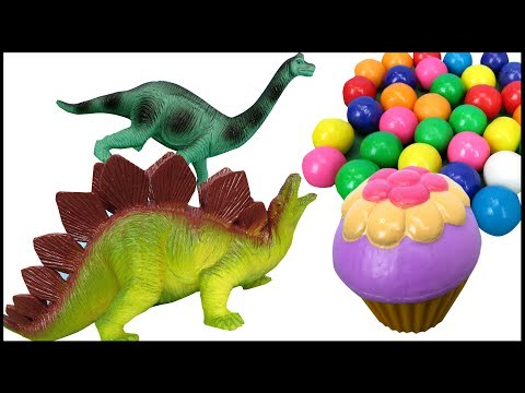 Cute Dinosaurs eat Sweets and Lemons - Cupcakes Gum Balls - Funny Toy animals - Playing