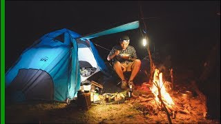 SOLO OVERNIGHT Camping - Cooking Rice, Vegetables - fishes Burn, training Khmer style #S1²