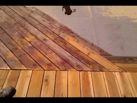 Sandblasting redwood deck