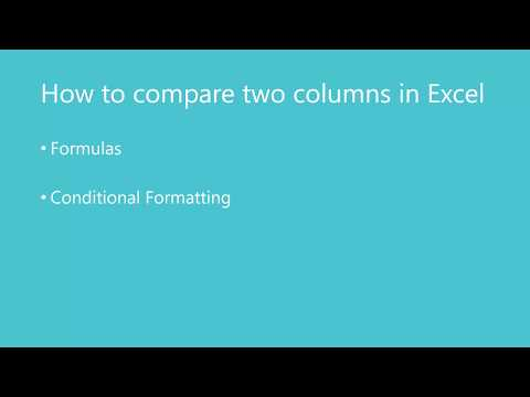 How to compare 2 columns in Excel for matches and differences