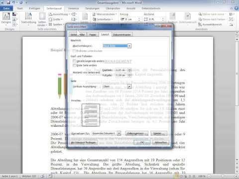 Microsoft Word 2010 Die Kopf  oder Fußzeilen für gerade und ungerade Seiten unterschiedlich machen