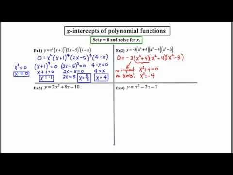 MathCamp321: Finding x-intercepts of polynomial functions