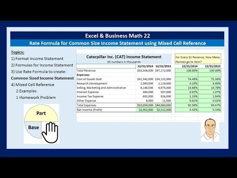 Excel & Business Math 22: Rate Formula for Common Size Income Statement using Mixed Cell Reference