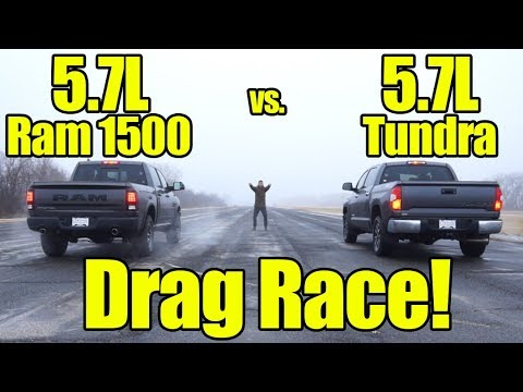 Ram 1500 5.7L HEMI vs Toyota Tundra 5.7L Drag Race! This was a close one!