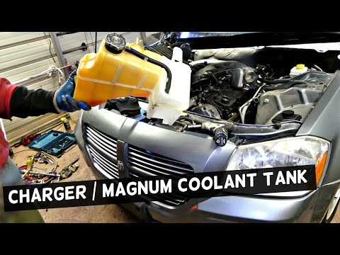 DODGE CHARGER COOLANT RESERVOIR TANK REMOVAL REPLACEMENT| DODGE MAGNUM