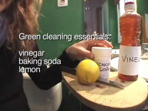 Green cleaning demo with baking soda, vinegar & lemon