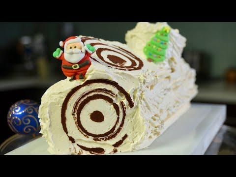 Bûche de Noël, Vanilla Buttercream Yule Log – Bruno Albouze – THE REAL DEAL