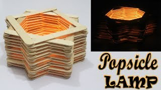 DIY ROOM DÉCOR | How to Make a Popsicle Stick Lamp | Easy Crafts Ideas at Home |Ice-cream Stick Lamp