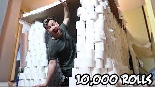 DIY GIANT INDOOR TOILET PAPER FORT!! (10,000 ROLLS)