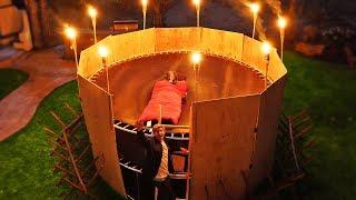 OVERNIGHT CHALLENGE in Trampoline Tower Apocalypse Survival Fort!