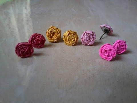 How to make Paper flower earrings