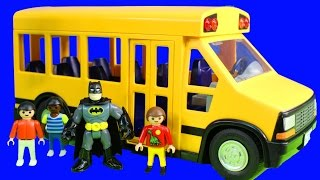 School Bus Playmobile Kids Go On Fieldtrip To Imaginext Batman Batcave With ABC Kids Song