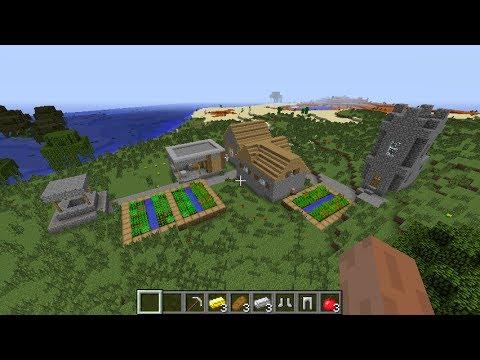 Minecraft NPC village seed 1.7.10, Mesa/village spawn! check it out!