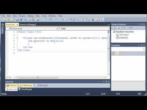 Visual Basic Tutorial - 89 - Random Number Generator