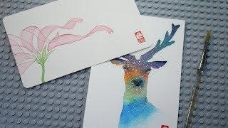 수채화로 꽃/사슴 그리기 - 골든카드 이벤트