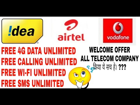 Airtel,vodafone,idea,welcome offer, 90 days, unlimited free data,wifi,calling,sms,